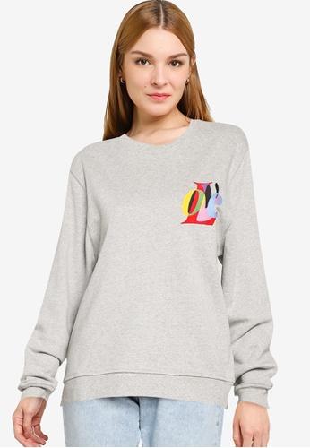 French Connection grey Love Graphic Crew Neck Sweatshirt D155DAA0CBA149GS_1