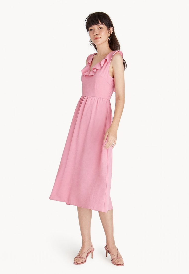 Strappy Dress Pink Pomelo Midi Ruffled Back dPqw1gS