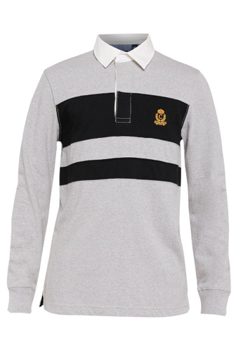 9e22adc6869 CHAPS grey Heritage Collection Colour Blocked Rugby Shirt 9F4F9AA0462DE8GS_1