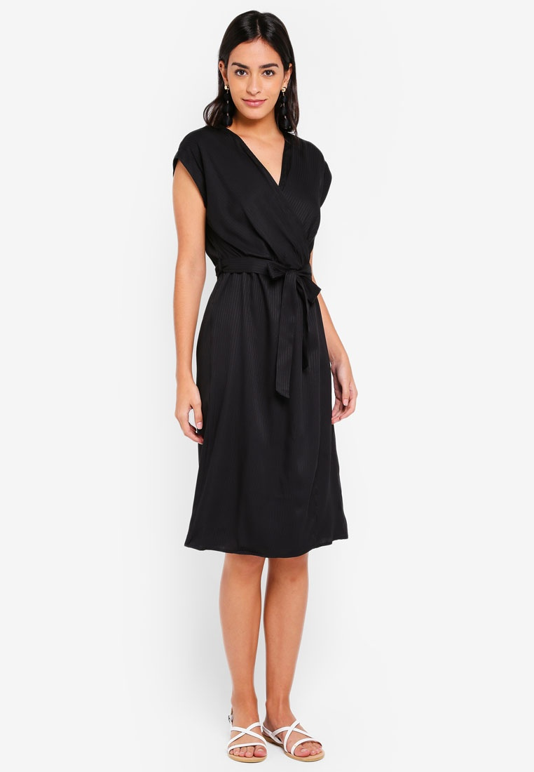 Dress Vero Black Ally Short Moda Sleeve vT77nE