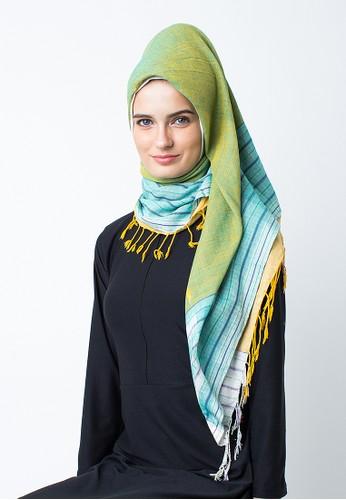 Silmaa yellow and green Silmaa Kerudung Tenun Segi Empat SI713AA48FJFID_1