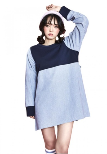 A X A blue Stripe Dress AX230AA70CDPSG_1