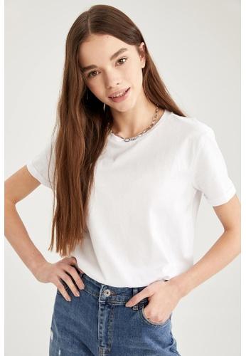 DeFacto white Woman Knitted Short Sleeve T-Shirt B8A21AAA3E9EC5GS_1