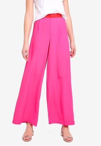 Miss Selfridge pink Pink Side Stripe Wide Leg Trousers 39156AA70015EAGS_1