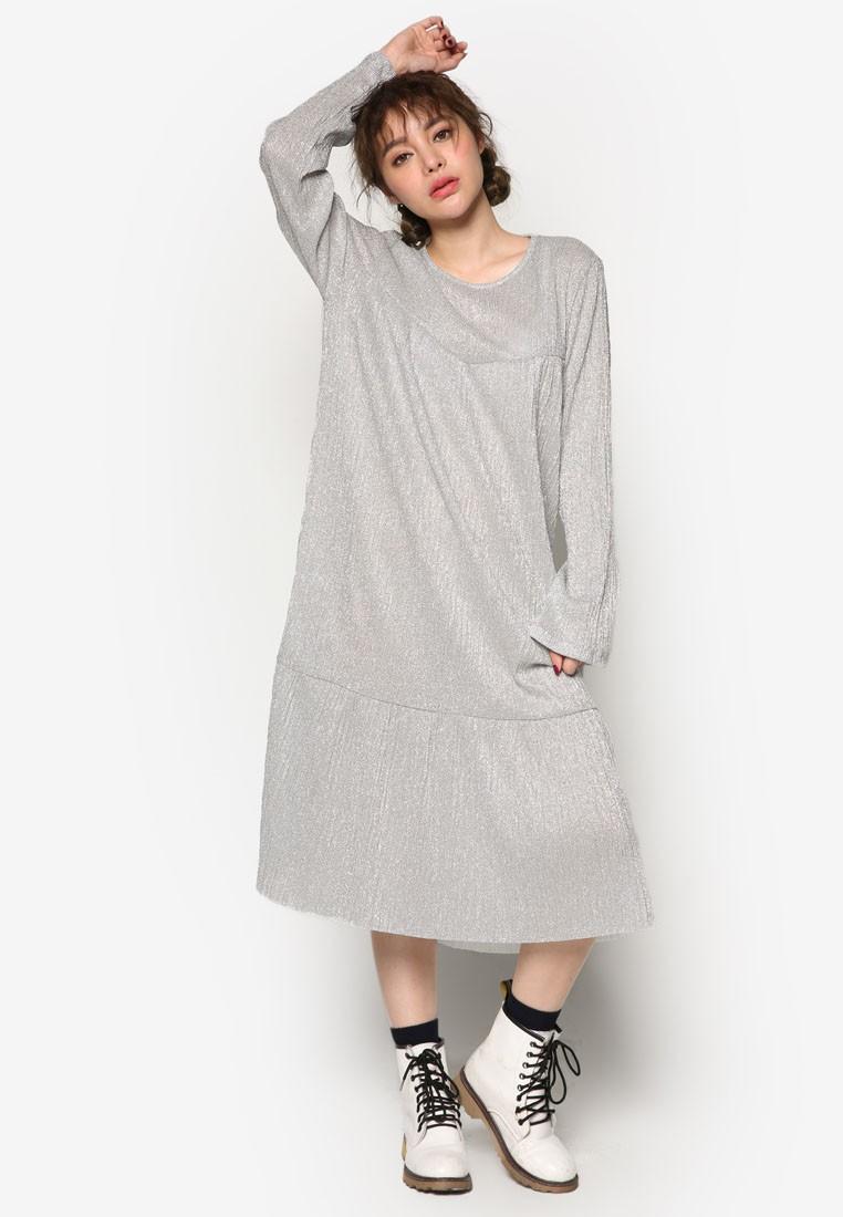 K Style Long Sleeve Pearl Pleats Dress