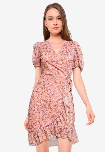 Miss Selfridge pink Petite Pink Printed Mesh Dress F87FCAA209E619GS_1