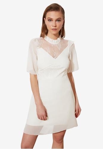 Trendyol white Lace Detailed Chiffon Dress BEBD7AAEF93E9BGS_1