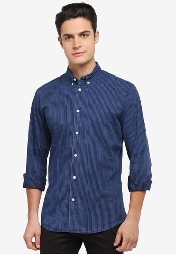 Selected Homme 藍色 長袖條紋襯衫 8C2FEAAD944B44GS_1