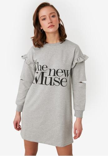 Trendyol grey Ruffled Detail Sweater Dress 782F8AA15FD1C3GS_1