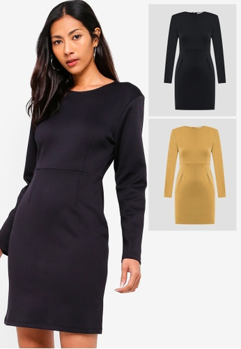 15781f0cd1a1 ZALORA BASICS black and yellow 2 pack Basic Long Sleeves Bodycon Dress  ZA424AA0QODQPH 1