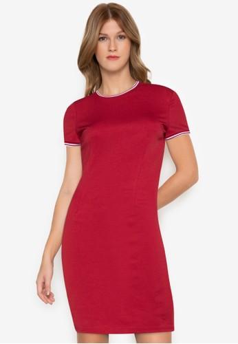 ZALORA BASICS red Contrast Trim Bodycon Dress 527CDAA67988ABGS_1