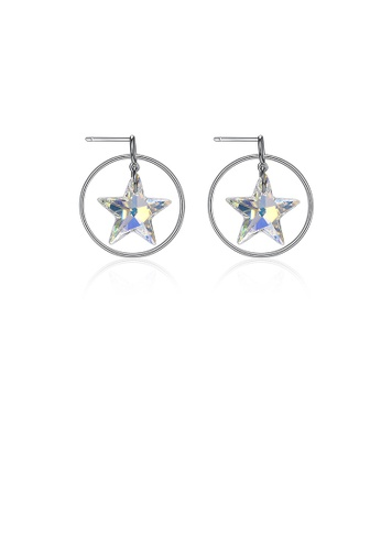 Glamorousky white 925 Sterling Silver Star Earrings with Austrian Element Crystal C7B19AC9B145F9GS_1