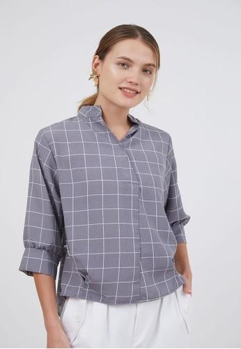 Berrybenka Label grey Sophie Muila Plaid Tops Grey 170DFAA923957CGS_1