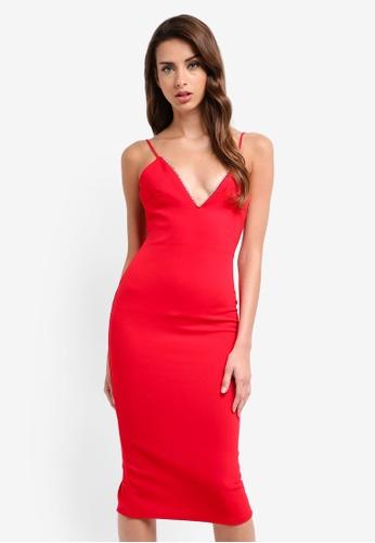 MISSGUIDED red Scuba Diamante Trim Plunge Midi Dress A9547AA883AE2BGS_1