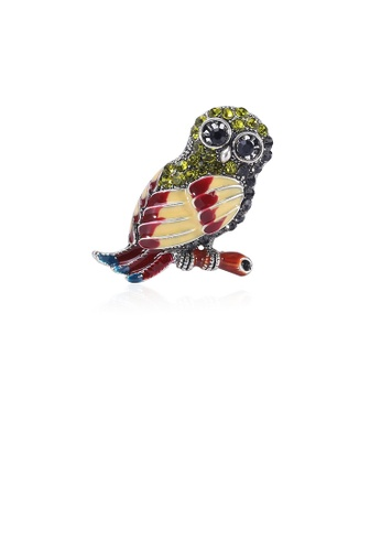 Glamorousky silver Fashion and Cute Plated Gold Color Owl Brooch with Cubic Zirconia A44B9AC615CECDGS_1