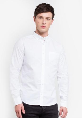 Burton Menswear London 白色 White Long Sleeve Oxford Shirt 931C9AA7ACEA6EGS_1