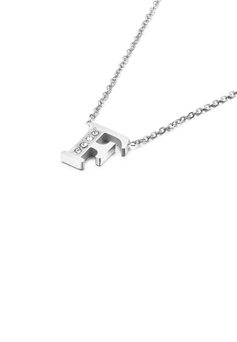 Glamorousky white Fashion Personality English Alphabet F 316L Stainless Steel Pendant with Cubic Zirconia and Necklace 9FAA6AC4BA3239GS_1