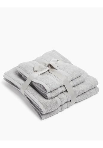 MARKS & SPENCER grey M&S 4 Piece Super Soft Pure Cotton Towel Bale 4C5EEHL7AC207EGS_1