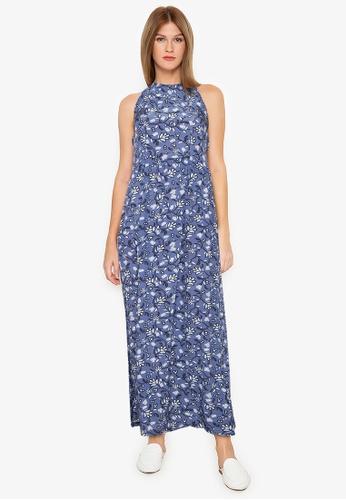 Purple Shore blue Printed Long Dress 0CA03AA923FE5AGS_1