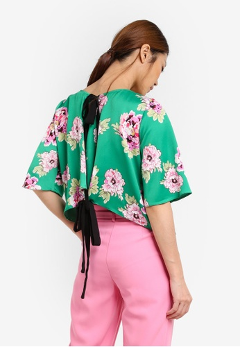 Miss Selfridge green Oriental Print Blouse MI665AA0SHV7MY_1