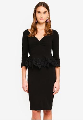 Goddiva black Lace Peplum Midi Dress 45821AA5712A8DGS_1