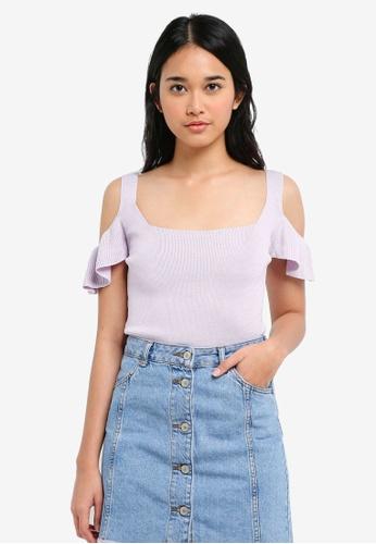 TOPSHOP purple Square Neck Frill Top 1C09FAA2B78383GS_1