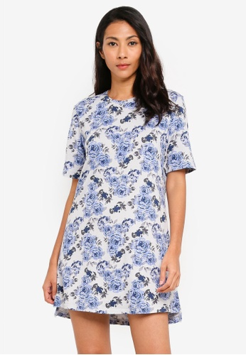 UniqTee blue Flora Print T-shirt Dress 73DFFAAD48BE04GS_1