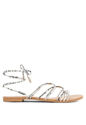 ZALORA white Lace Up Flat Sandals 5772ESHB766966GS_1