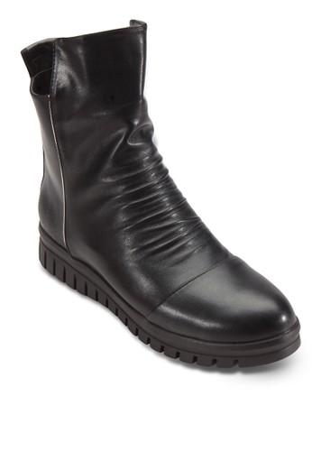 側拉鍊提花皺褶esprit台灣網頁短靴, 女鞋, 鞋