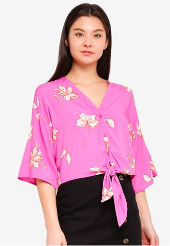 Cotton On pink Freddie Tie Front Blouse 08469AA4FE4DF2GS_1