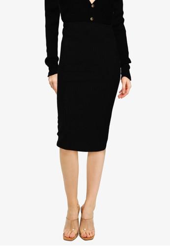 MISSGUIDED black Rib Side Split Midi Skirt Co Ord EB100AA96D795FGS_1