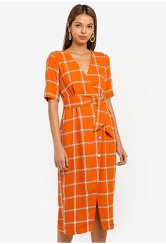 6586b77429ae Miss Selfridge brown Rust Windowpane Checkered Midi Dress 7EAFFAAF389D3BGS 1