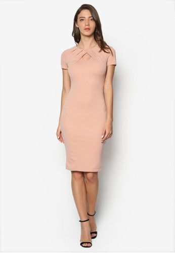 褶飾鏤空短袖連身esprit台北門市裙, 服飾, 洋裝