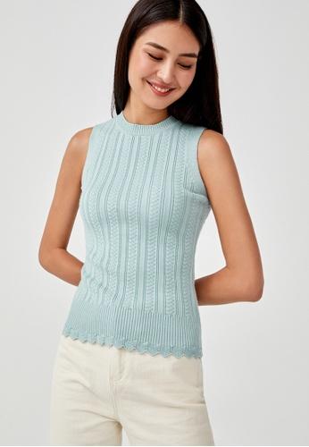 Love, Bonito blue Analise Scallop Hem Knit Top E674EAA273A08CGS_1