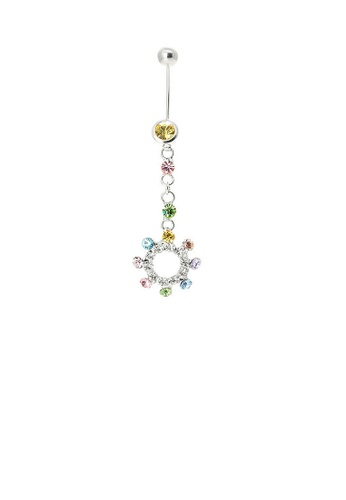 Glamorousky multi Sparkling Colorful Circle Belly Ring with Multi-colour Austrian Element Crystals 77764ACC1E5A4CGS_1
