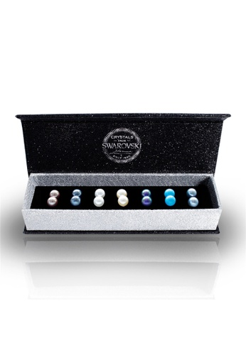 Her Jewellery multi Swarovski® Crystals - 7 Days Pearl Earrings Set (18K White Gold Plated) Her Jewellery HE581AC00JUXMY_1