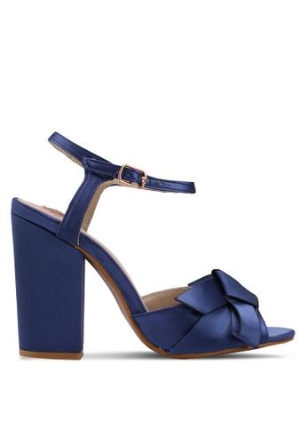 Velvet navy Big Bow Ankle Strapped Heels ED48ESH50BC5FCGS_1