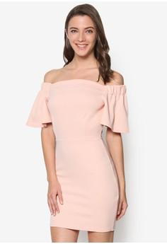 Frill Sleeve Bardot Bodycon Dress