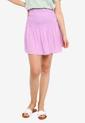 Cotton On purple Selma Shirred Mini Skirt ECCD5AA150EDBBGS_1