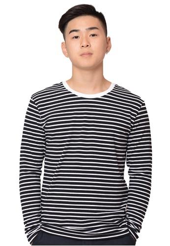 Praise black and white Stripes Long Sleeves Tee PR067AA0GZ47SG_1