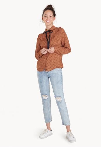 Pomelo orange Polka Dot Tie Neck Shirt - Orange 8EEA6AA19BD361GS_1