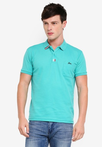 Fidelio green Taped Collar Polo Shirt A9547AA60F95BFGS_1