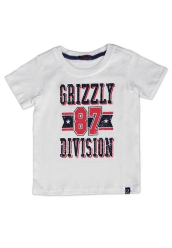 Grizzly white Kids Round Neck Short Sleeves Flat Print T-shirt AB614KAD2B13E3GS_1