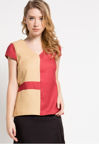 sophistix yellow and brown Eila Blouse SO829AA67KZWID_1