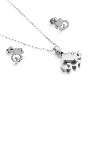 Glamorousky white Simple and Cute Elephant 316L Stainless Steel Necklace and Stud Earrings Set 09C5CAC5CE1979GS_1