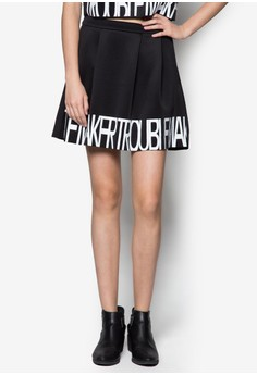 Printed Pleat Skater Skirt