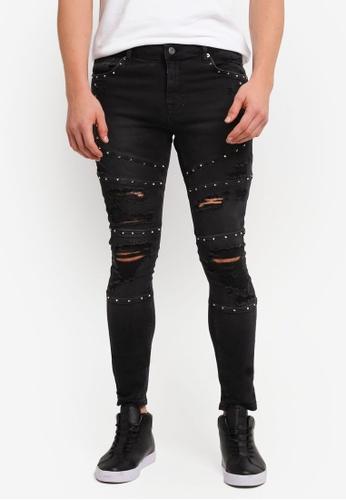 Topman black Black Studded Biker Spray On Jeans TO413AA0SJKQMY_1