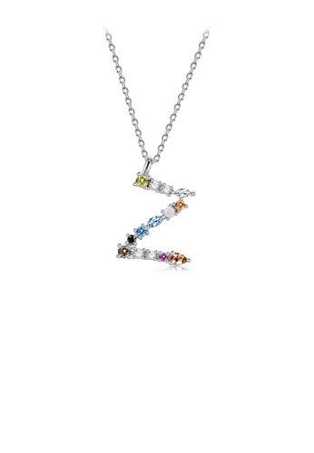 Glamorousky silver 925 Sterling Silver Fashion Simple Color English Alphabet Z Pendant with Cubic Zirconia and Necklace 173B2AC1E4381EGS_1