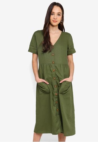 b90250929cf Cotton On green Woven Camila Button Through Midi Dress 5E9ABAA78AFAFFGS 1
