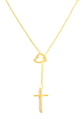 7ce0b83da52d6d Shop All Things New Stainless Steel Heart Crucifix Pendant Necklace Online  on ZALORA Philippines